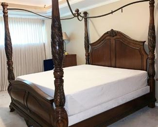 Beautiful King Size Four Poster Bed with Ironwork Canopy, Tempurpedic Contour Mattress and Base