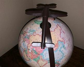 Unique Globe with Airplane Decor