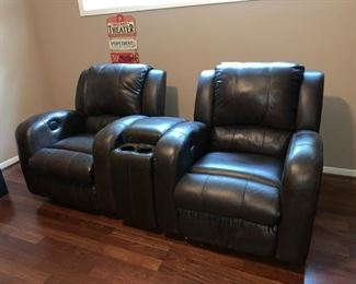 Two Theater Chairs, Both Electric with Center Console