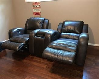 Two Theater Chairs, Both Electric with Center Console, Both Rock