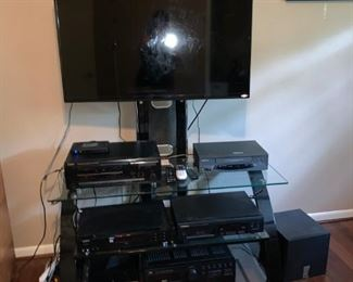 Home Theater with Flat Screen TV, Components, Xbox and Stand