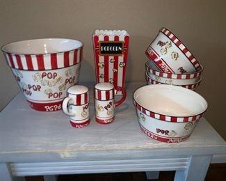 Ceramic Popcorn Serving Dish, Bowls, Salt and Pepper Shakers