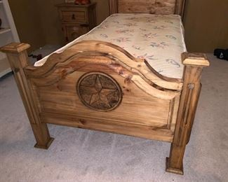 Awesome Rustic Twin Bed with Texas Star ;)