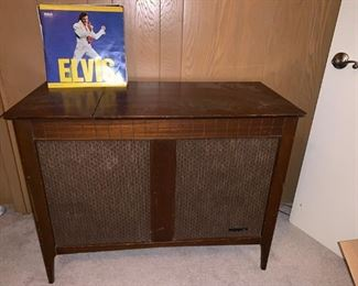Antique Record Player in Cabinet and LP 33's Albums