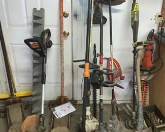 Array of Weedeaters, Weed Whackers, Ax, Edgers, Floor Jacks and More