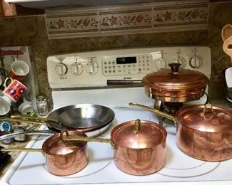 Some of the many Copper pans