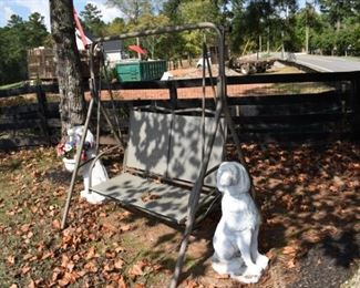 swing and cement outdoor dogs