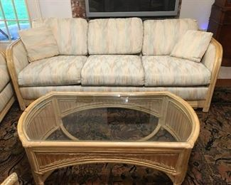 Beautiful Large Set of Rattan Furniture Sofa, Loveseat, End table and Coffee table & Chair
