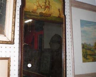 mahogany plank mirror with sailing ships