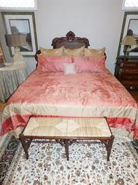 King Bed Set with clean, new condition mattress set: $1,100.  Bedding set:  $125.  Sofa bench: $145