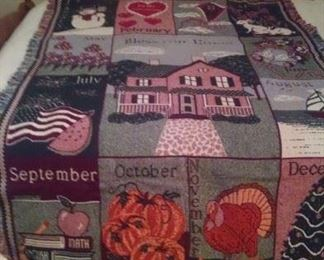 Variety of quilts and throws, bath towels, shams, bedding, table linens.....