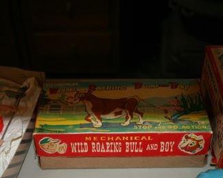Vintage Wild Bull and Boy