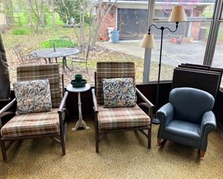 Mid Century Modern sunroom chairs and child's upholstered rocker.