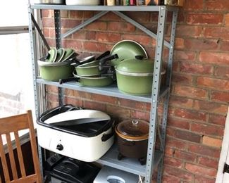 Kitchen roasters, appliances and classic avocado green pots & pans.