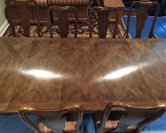 Milling Road Baker Collection Dining Room Set with Hutch.  Seats 6-14 people. Comes with 3 leaves and table pads, 6 chairs in striped upholstery. Beautiful condition!