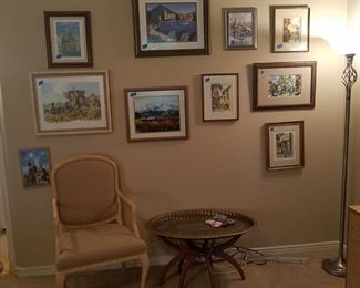 This family was well traveled and their is artwork from all over. Large Asian brass tray table is fabulous.