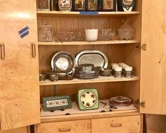Vintage decanters. Pewter dishware, cut crystal.
