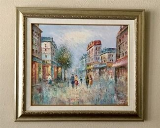 painting by Salvador Vazquez of a street  scene in Paris