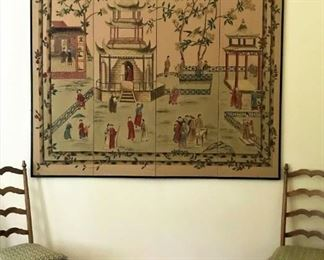 Large. painted panel, Chinese village mural.  Two of 6 ladderback, rush seat chairs w/cushions.