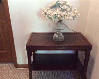 Side table & converted oil lamp
