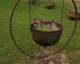 Cast iron planters or kettles with rack and bracket