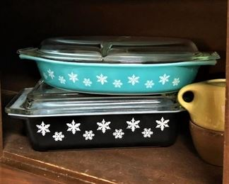 Turquoise and Charcoal Snowflake Pyrex