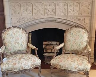 Lovely Pair of Louis XV Style brocaded Chairs