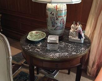 Marble top Table, Celadon, Crystal Box