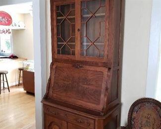 A Wonderful Antique Curio Secretary Desk Cabinet