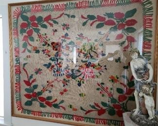 Vintage Tablecloth in Framed Glass...owned by a person in the Holocaust