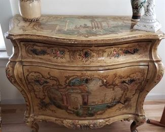 Antique  Handpainted Ornate Bombe Chest - Wow!