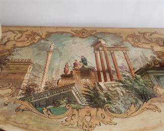 Handpainted ornate Antique Bombe Chest