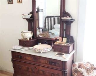Marble Top Antique Vanity Dresser with Mirror