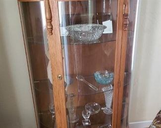 Reproduction of Curved Glass Curio Cabinet