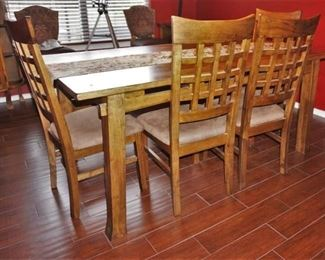 Dining table with 4 chairs and a bench