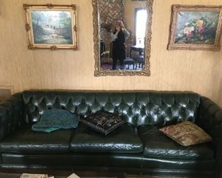 Hunter Green Leather Chesterfield  Sofa