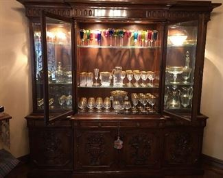 Generous, Comprehensive Collection of Saint Louis Thistle Gold and Apollo Crystal (stemware, barware, accessories, caviar, pitchers, ash receiver, candelabra, knife rests and more)