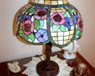 Leaded glass lamp, Lenox and Royal Albert collectibles