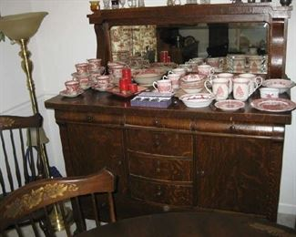 antique buffet, Johnson Bros. china from England