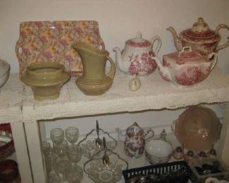 Bone china platter, 2 Roseville pieces