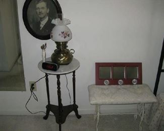 lamp has hand painted, artist signed shade