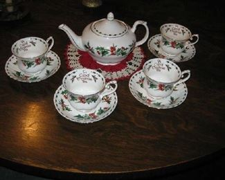 A Christmas tea set