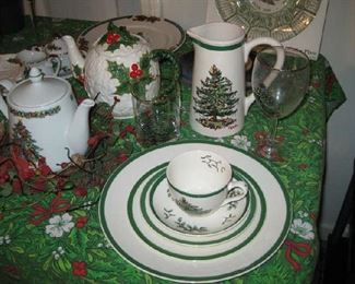 Spode Christmas tree dishes, service for 8, includes tumblers & wine glasses