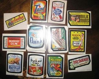 Sampling of Topps collector cards (decals, stickers) from the 70-80's, over 100 total