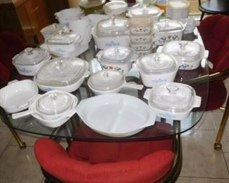 Lots of Corningware and other vintage kitchen