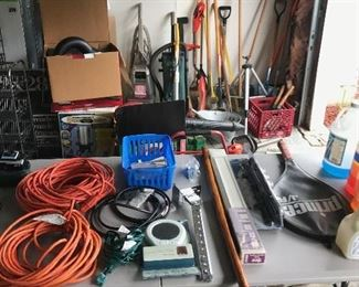 extension cords and yard tools