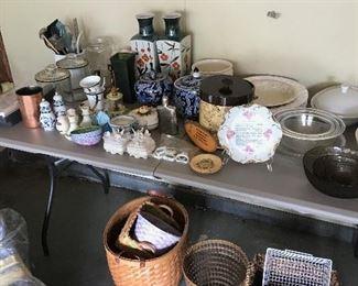 baskets, vases, platters, bowls