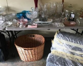 basket, vases, platters, candy dishes