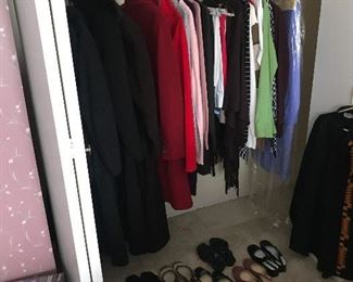 ladies clothing, shoes, and coats
