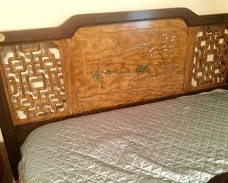 Asian Inspired 1950's Head and Footboard, Rails Mattress and Box Springs.  Double/Queen Bed:  $300.00